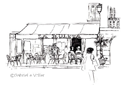 French Cafe Drawing French Café Scene Ink